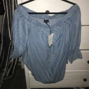 NWT Off the Shoulder Chambray Top
